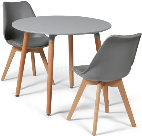 Toulouse Tulip Eiffel Designer Dining Set Grey Round Table & 2 Grey Chairs Sale Now On Your Price Furniture
